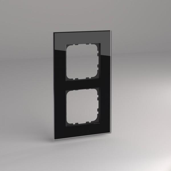 Glasrahmen für Busch Jäger balance SI Steckdosen und Schalter 2-fach schwarz