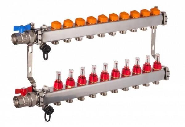 Edelstahlverteiler mit automatischem Abgleich 10 Heizkreise