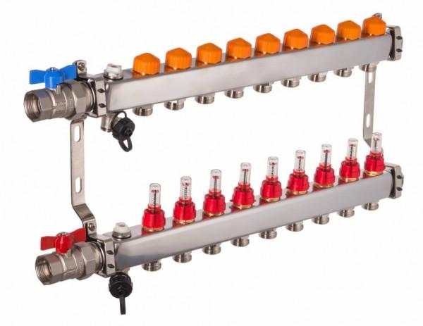 Dyna Heizkreisverteiler für Fußbodenheizung mit 9 Kreisen und automatischer Durchflussregelung