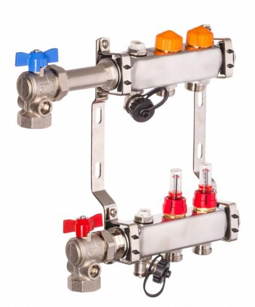 Dyna Heizkreisverteiler für Fußbodenheizung mit 2 Kreisen und automatischer Durchflussregelung