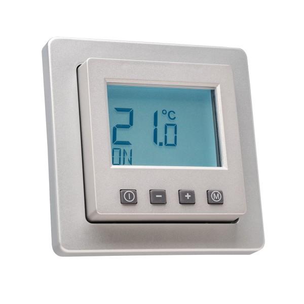 Raumthermostat digital mit Uhr für Berker Q.1/Q.3/Q.7 Rahmen alu