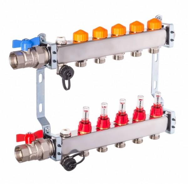 Dyna Heizkreisverteiler für Fußbodenheizung mit 5 Kreisen und automatischer Durchflussregelung
