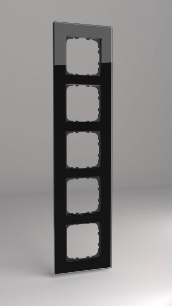 Glasrahmen für 55er Steckdosen und Schalter 5-fach schwarz