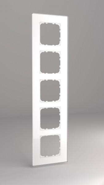 Glasrahmen für 55er Steckdosen und Schalter 5-fach weiß