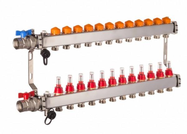 Dyna Heizkreisverteiler für Fußbodenheizung mit 12 Kreisen und automatischer Durchflussregelung