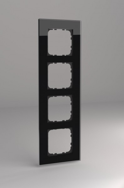 Glasrahmen für 55er Steckdosen und Schalter 4-fach schwarz
