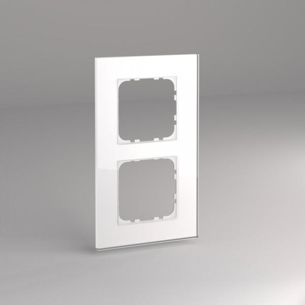 Glasrahmen für 55er Steckdosen und Schalter 2-fach weiß