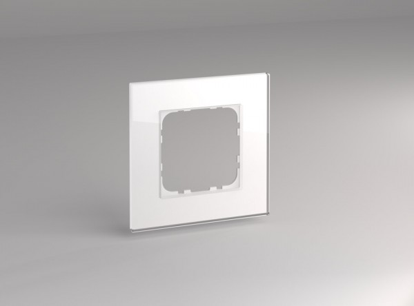 Glasrahmen für 55er Steckdosen und Schalter 1-fach weiß