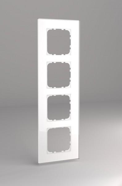 Glasrahmen für 55er Steckdosen und Schalter 4-fach weiß