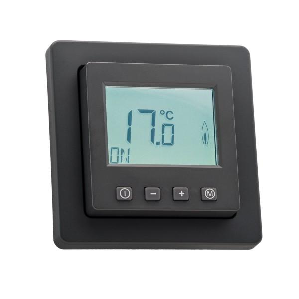 Raumthermostat digital mit Uhr für Berker Q.1/Q.3/Q.7 Rahmen anthrazit