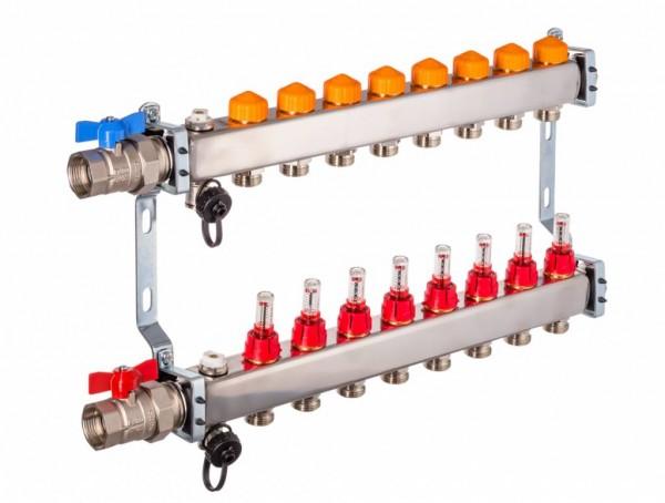 Dyna Heizkreisverteiler für Fußbodenheizung mit 8 Kreisen und automatischer Durchflussregelung
