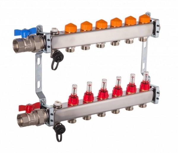 Dyna Heizkreisverteiler für Fußbodenheizung mit 6 Kreisen und automatischer Durchflussregelung