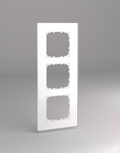Glasrahmen für 55er Steckdosen und Schalter 3-fach weiß