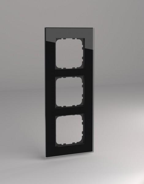 Glasrahmen für Busch Jäger balance SI Steckdosen und Schalter 3-fach schwarz