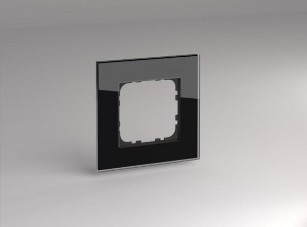 Glasrahmen für 55er Steckdosen und Schalter 1-fach schwarz