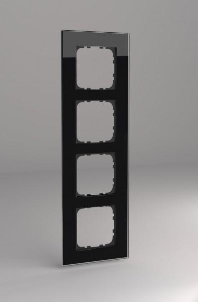 Glasrahmen für Busch Jäger balance SI Steckdosen und Schalter 4-fach schwarz